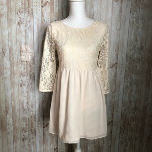 Forever 21 Lace Blouse Tunic Dress 3/4 Sleeves Sm